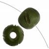 Bone Round Beads 9X10mm Olive Green Worked On Bone